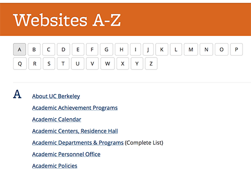 Screenshot of the letter A section of the A-Z web registry, with the letters of the alphabet across the top, and a few links below the letters