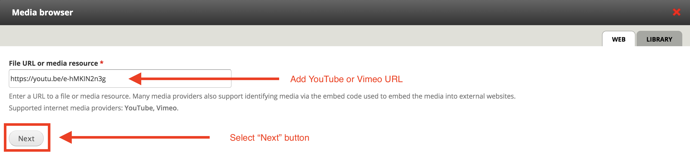 """Screenshot of media browser modal, with YouTube URL in the """"file URL or media resource"""" field"""