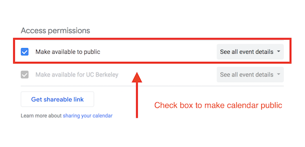 Screenshot of bCal settings, with checkbox for making the calendar public