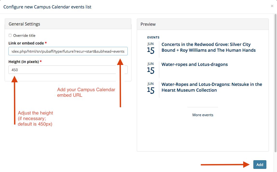 Screenshot showing configuration of a Campus Calendar widget