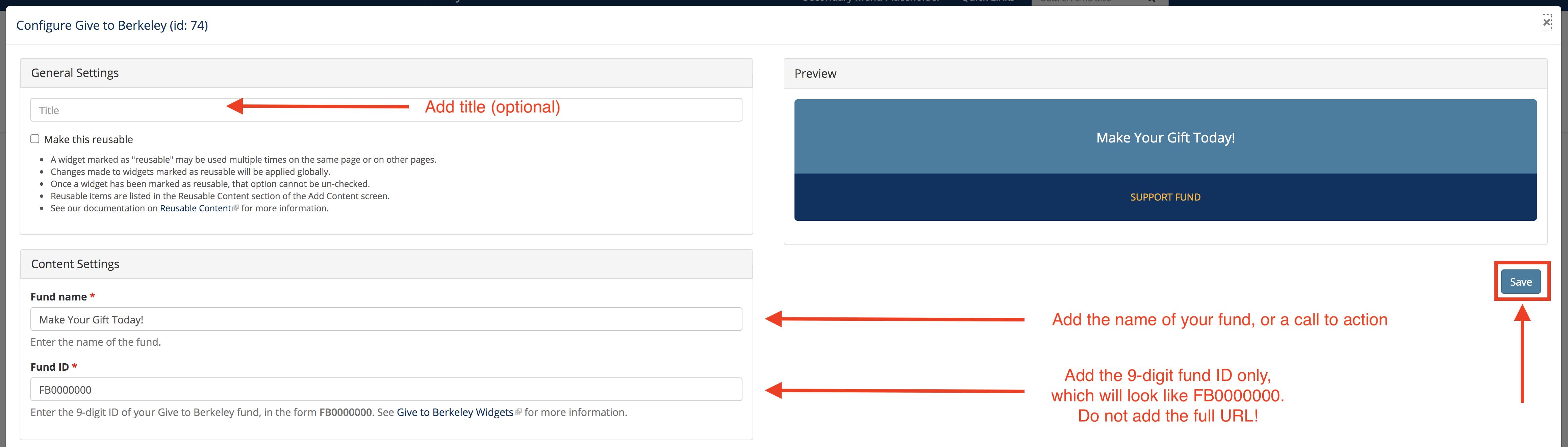 Screenshot of Give to Berkeley configuration screen