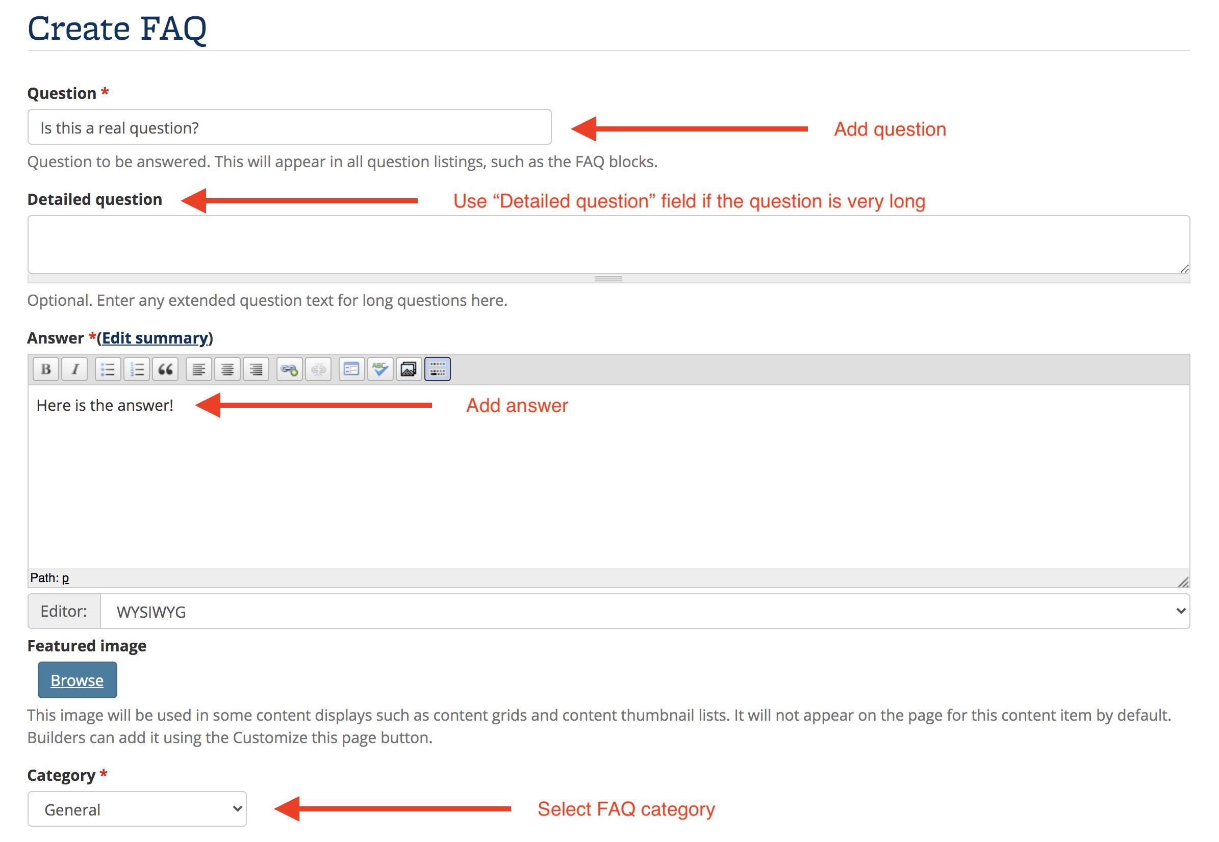 Screenshot of the Create FAQ editing interface