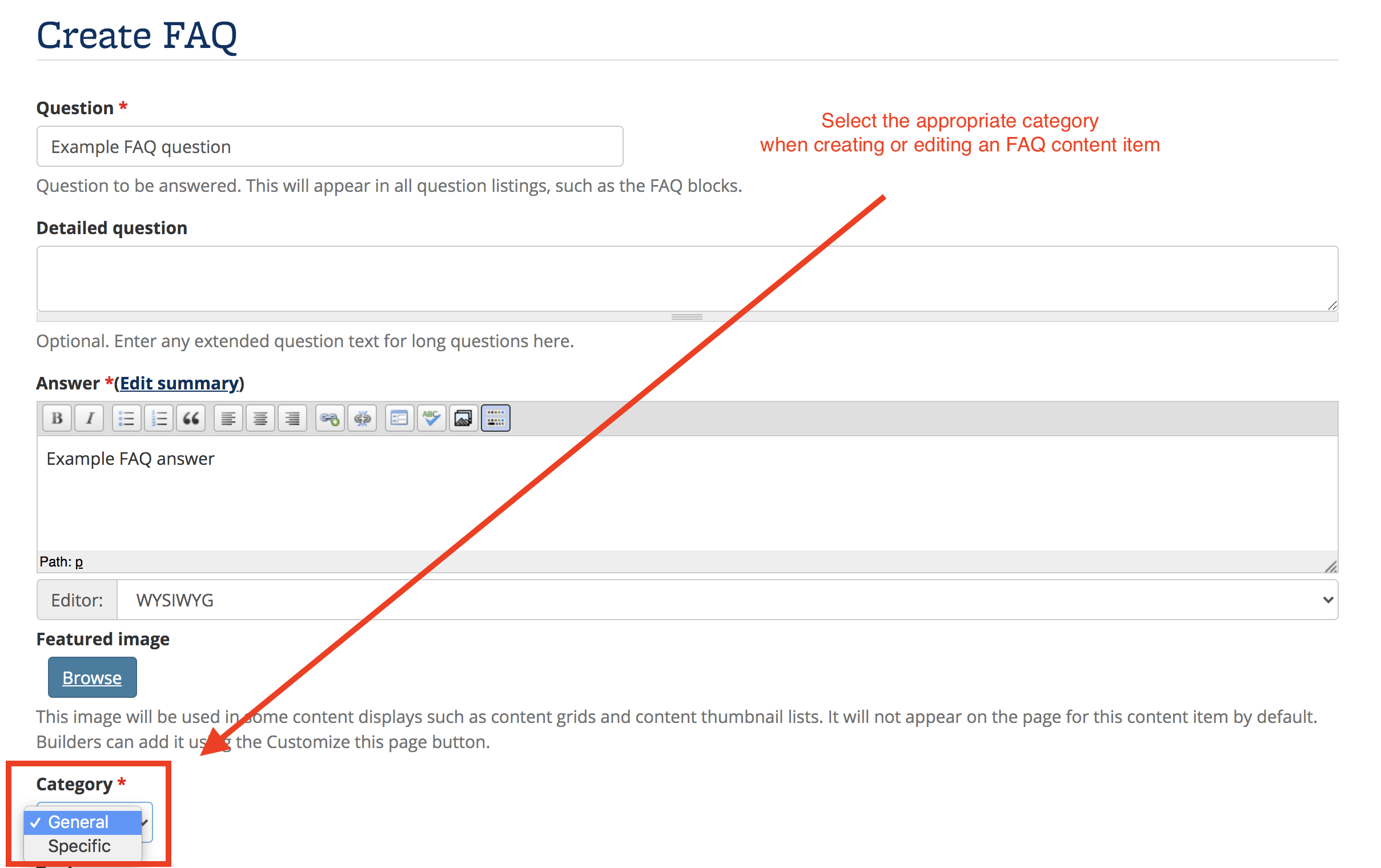 Screenshot of FAQ item editing interface, with the Category drop-down highlighted