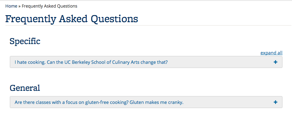 Screenshot of FAQs displayed with expand and collapse links