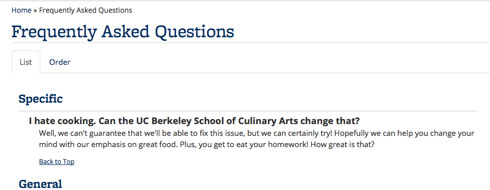 Screenshot of FAQs displayed with questions inline