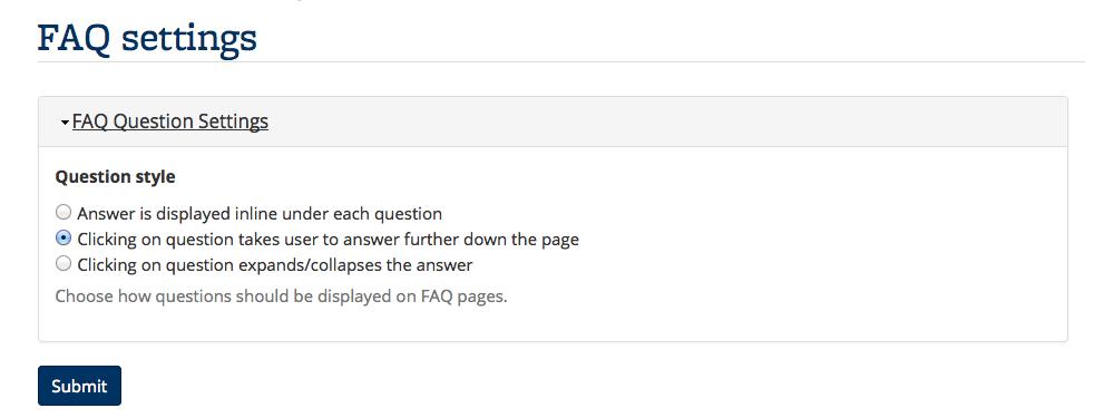 Screenshot of FAQ settings dashboard