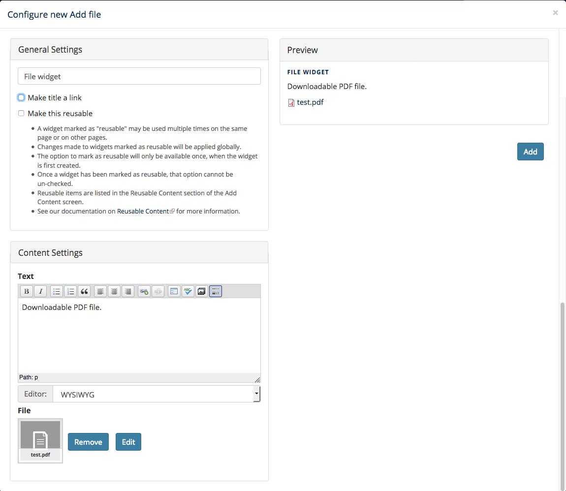 Screenshot showing configuration of a file widget