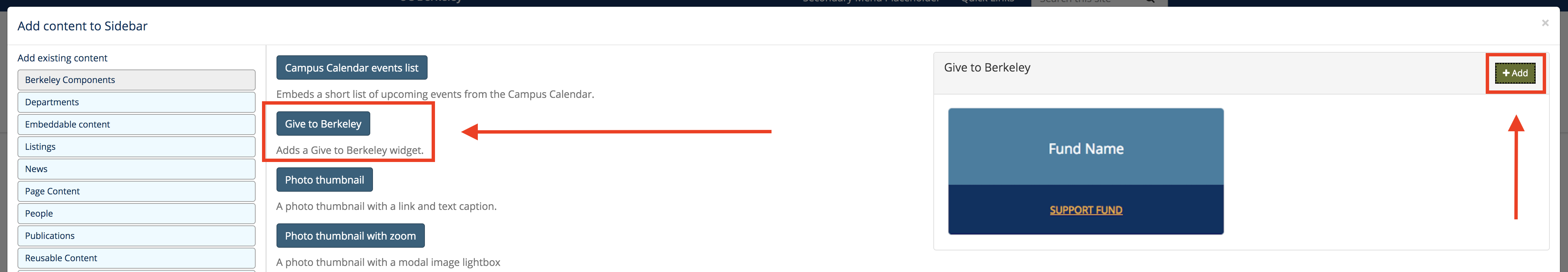 Screenshot of widget modal screen, where you can select a Give to Berkeley widget