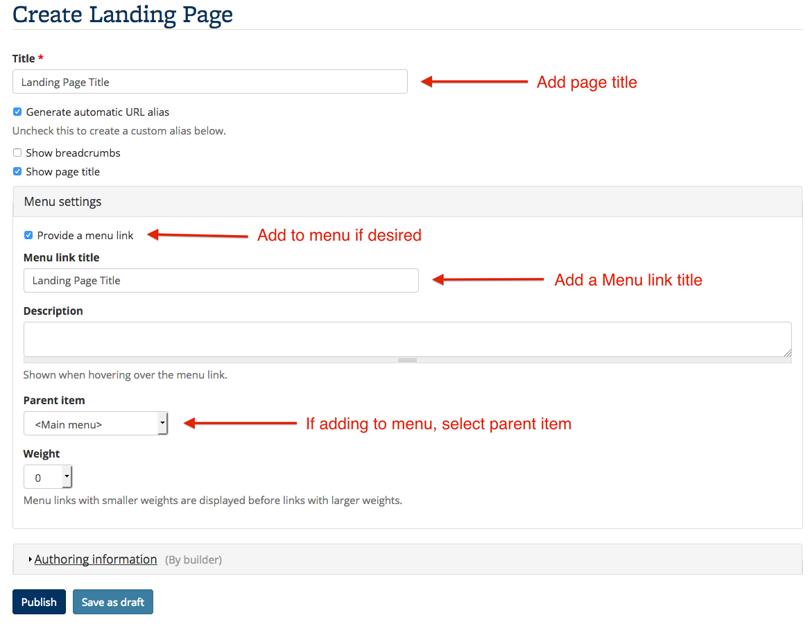 Screenshot showing the form to create landing pages