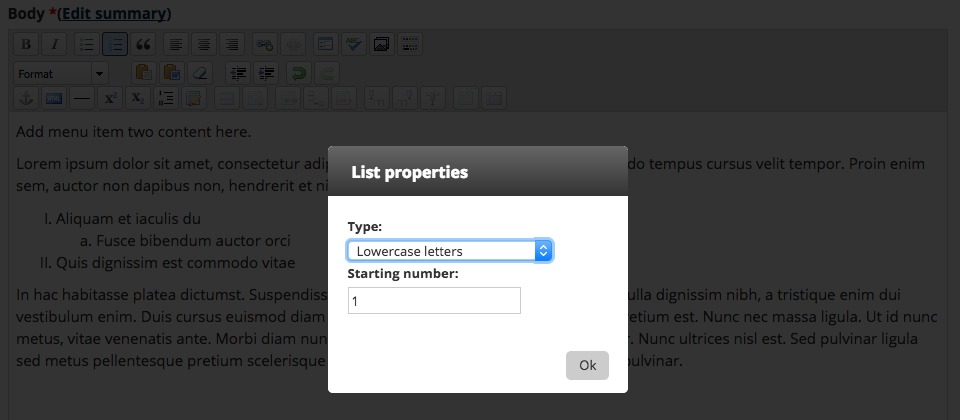 Screenshot showing the list properties dialog in the WYSIWYG editor
