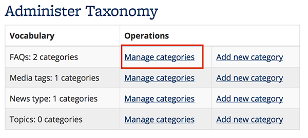 Screenshot of Manage Categories in the FAQs row on the Site Builder dashboard