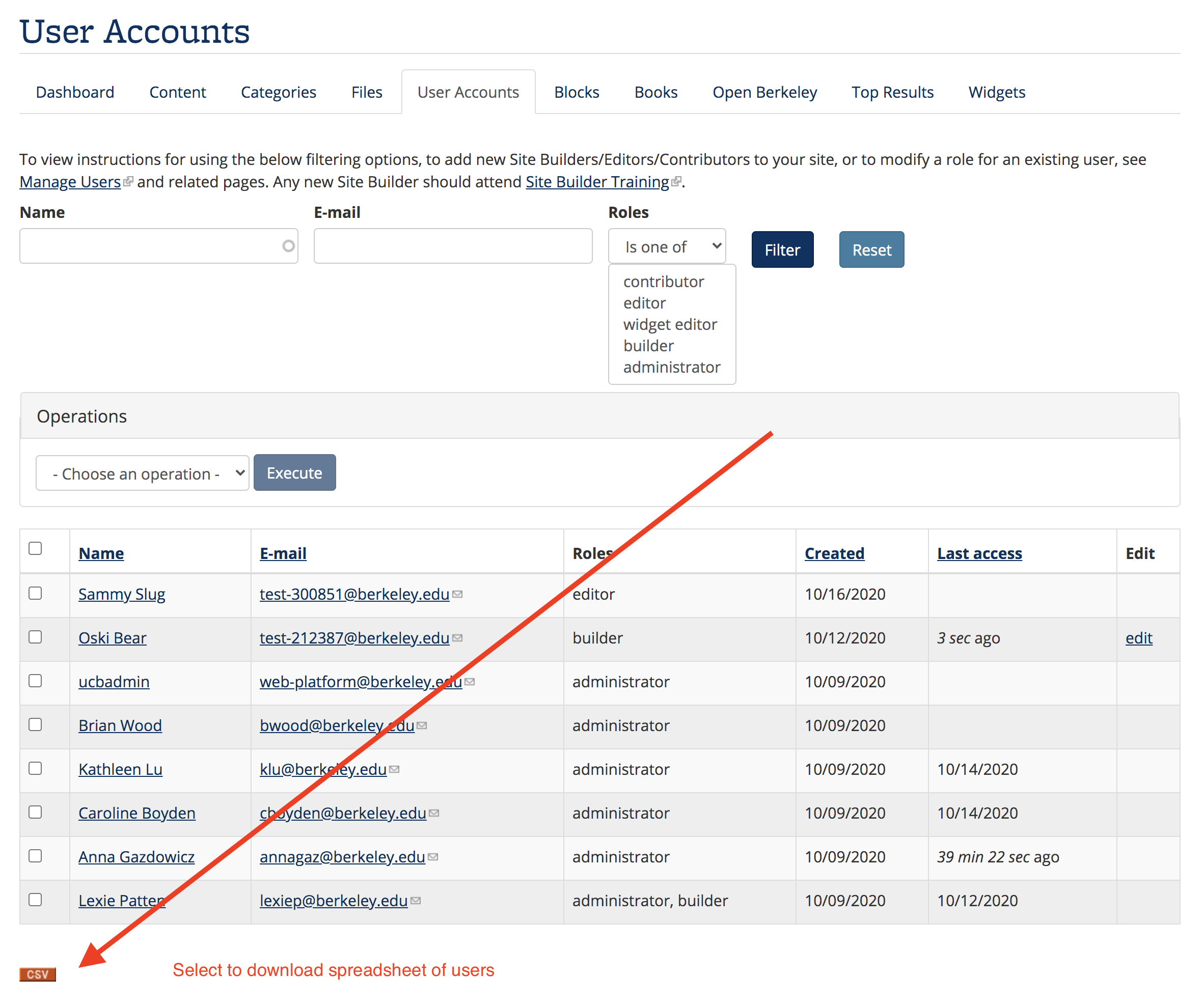 Screenshot of CSV button on User Accounts page