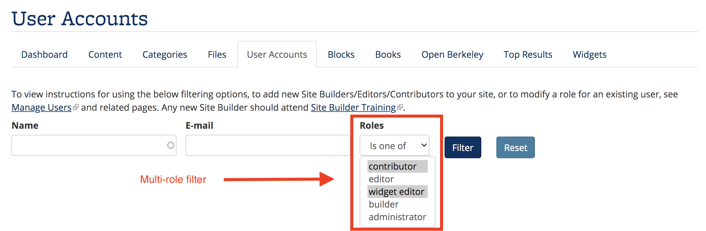 Screenshot of multi-role filter on User Accounts page