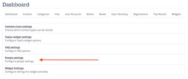Screenshot showing the People Settings link on the Open Berkeley dashboard