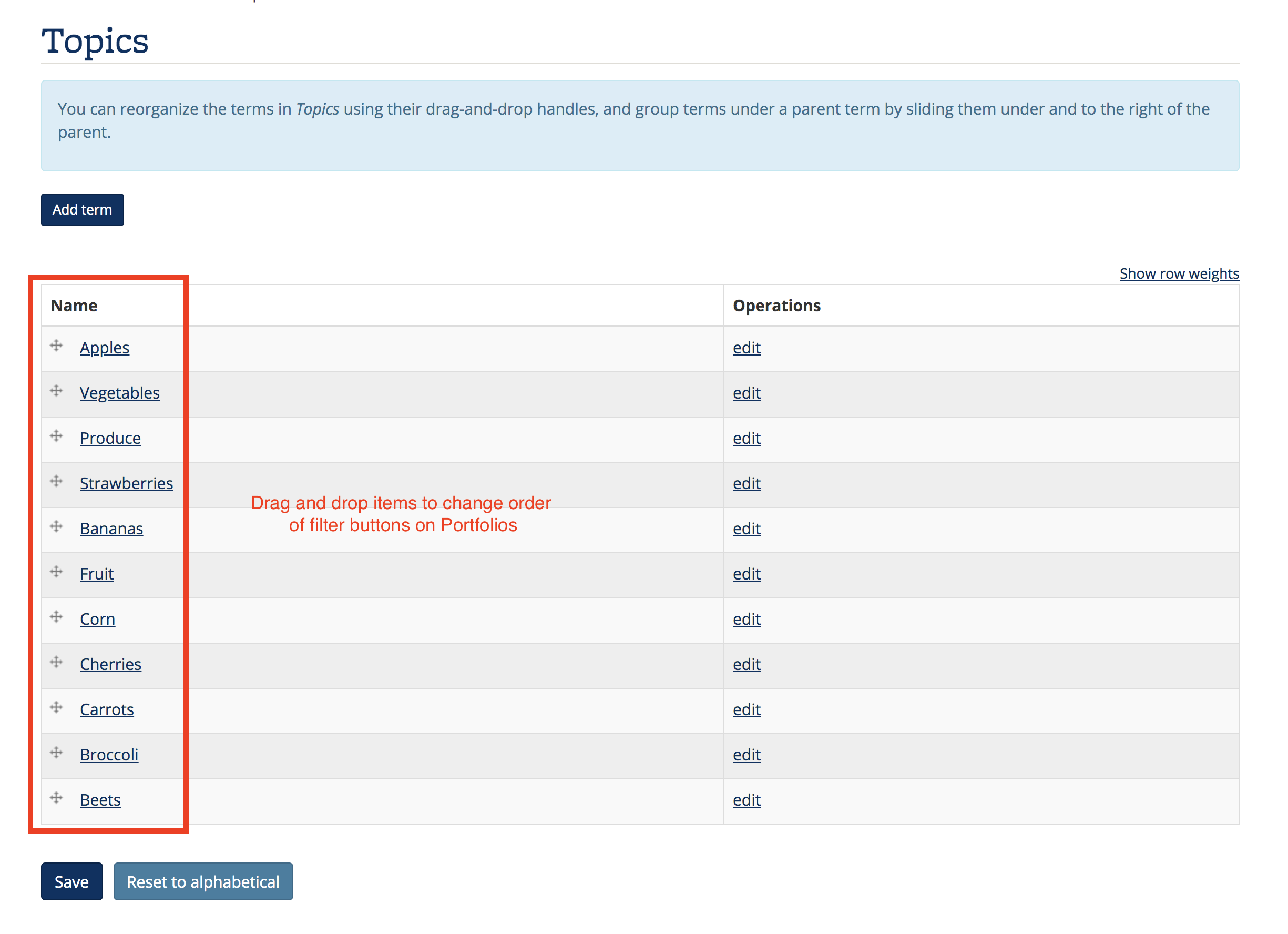 Screenshot of Topics categories, where you can drag and drop the items to change the order