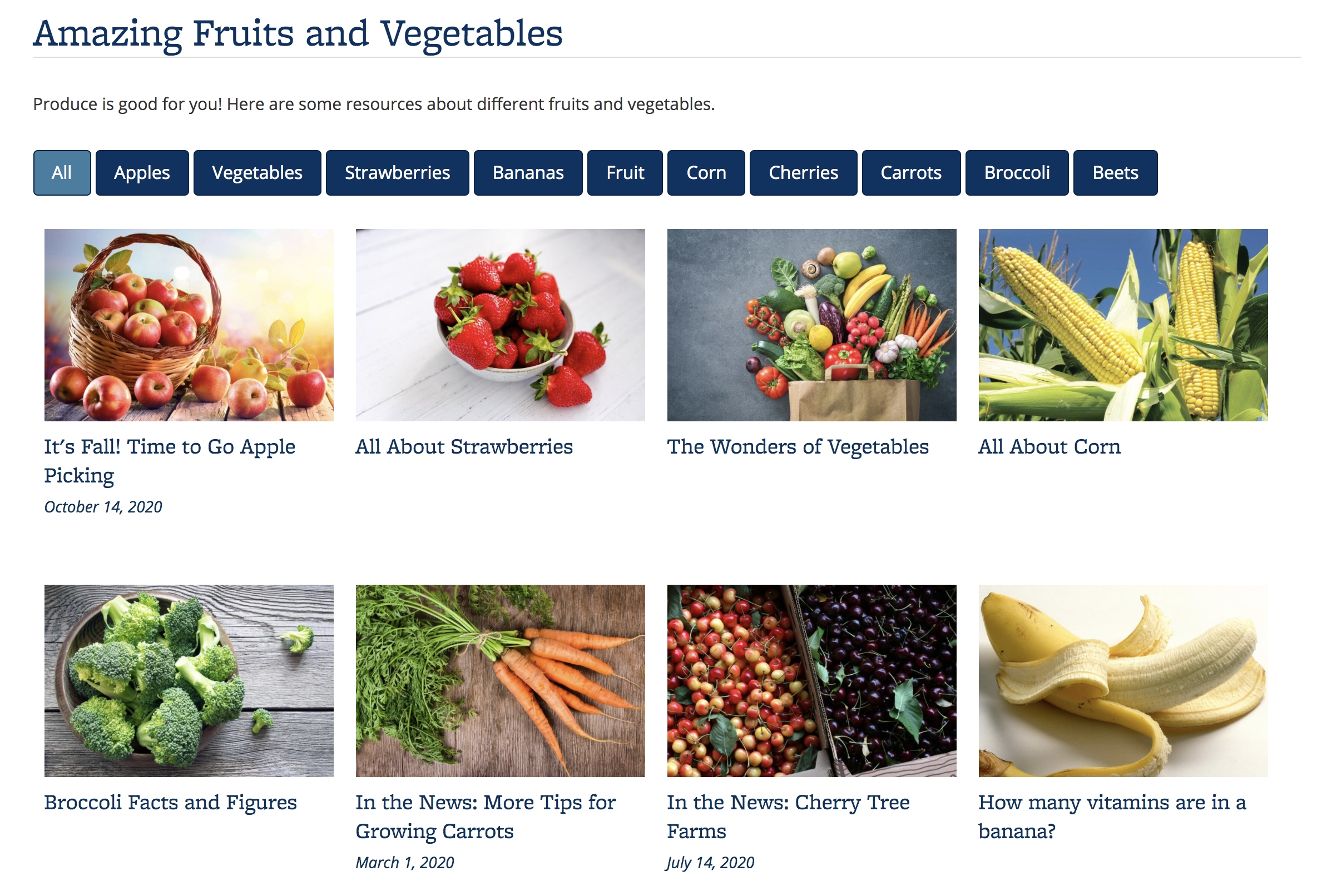 Screenshot of Portfolio about fruits and vegetables, using the Card display, which shows a photo and the title of the content item. The photo is a background image and will not be read.