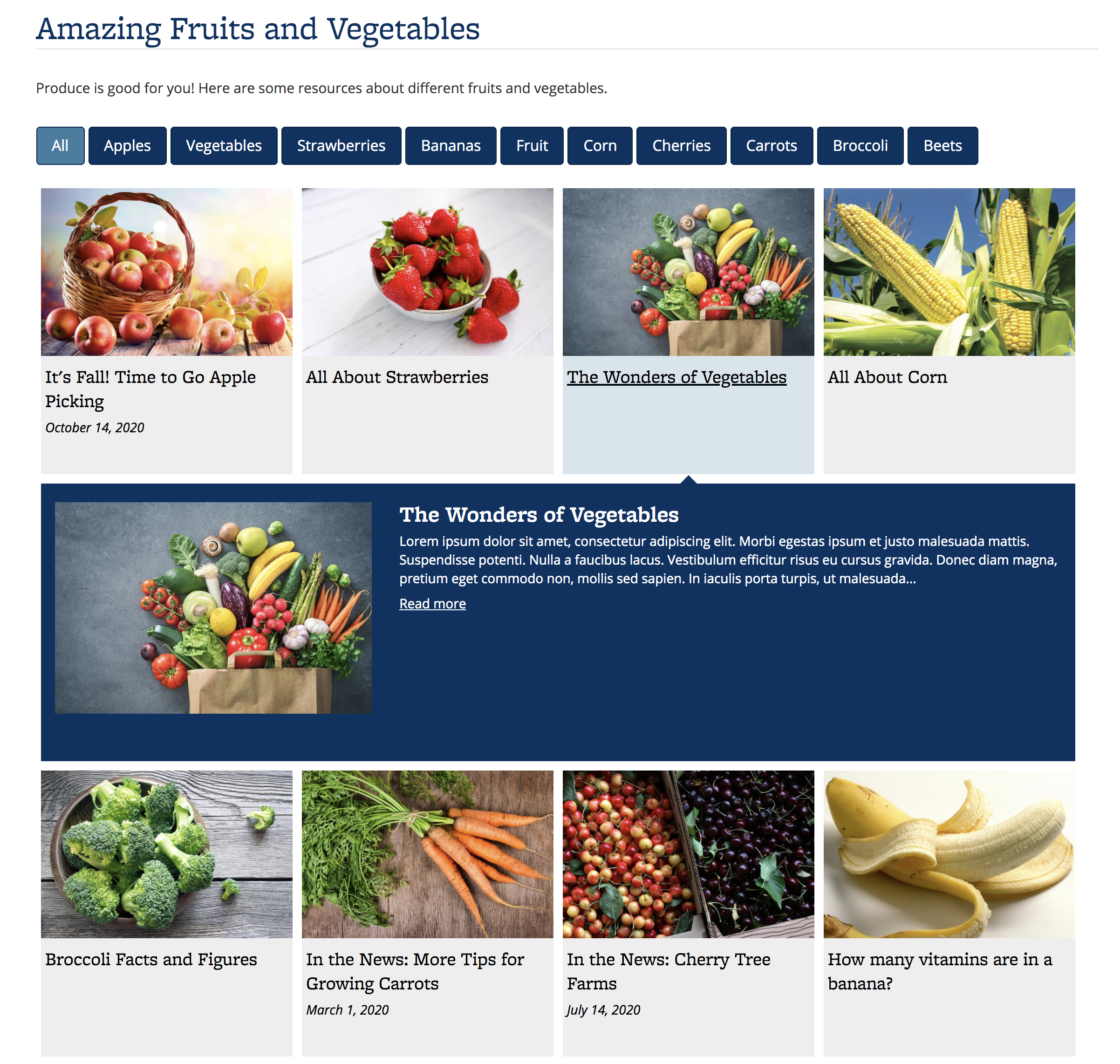 Screenshot of Portfolio about fruits and vegetables, using the Expanding Grid display, which shows a photo and the title of the content item. The photo is a background image and will not be read.