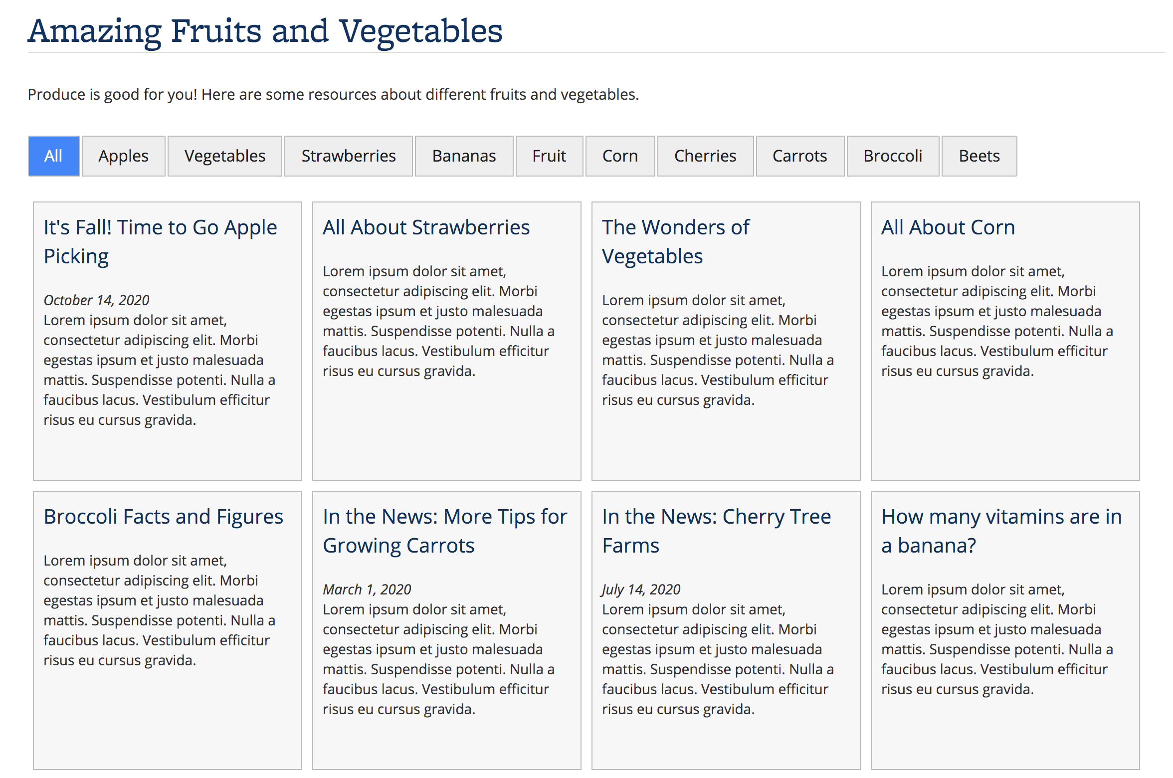 Screenshot of Portfolio about fruits and vegetables, using the Legacy display, which shows the title of the content item, and maybe a summary