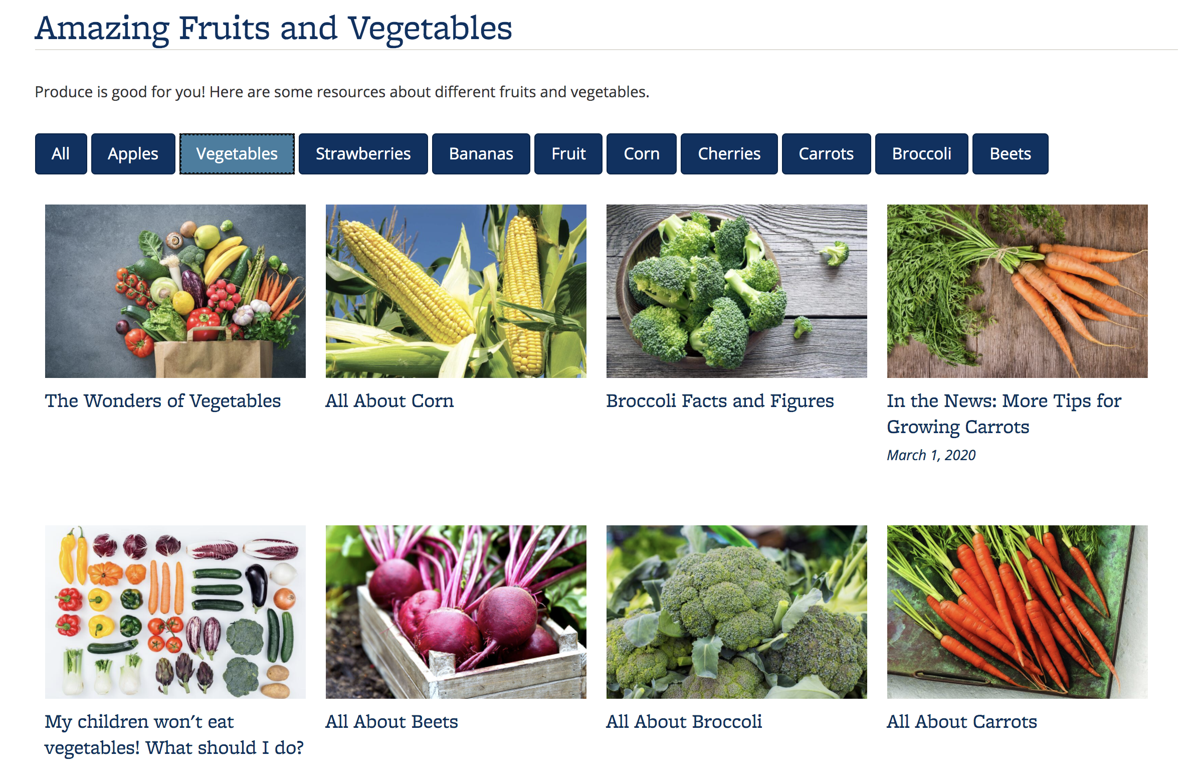 Screenshot of a Portfolio about fruits and vegetables, with the Vegetables category selected