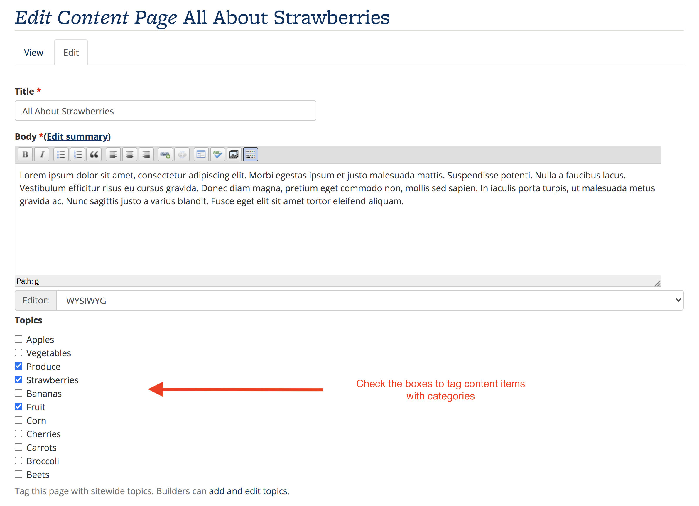 Screenshot of editing a content item, and checking the boxes to tag the content item with Topics