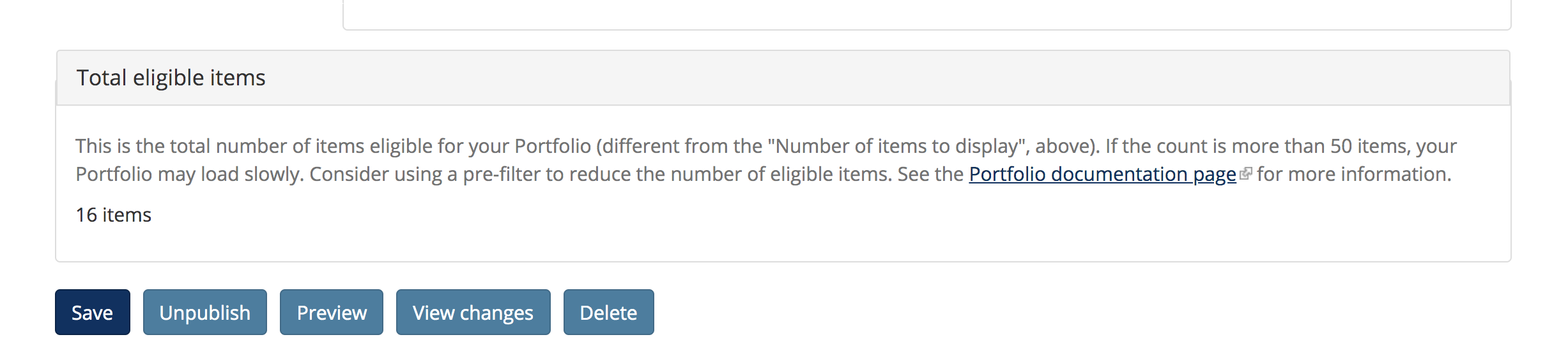Screenshot of total number of items available in the Portfolio
