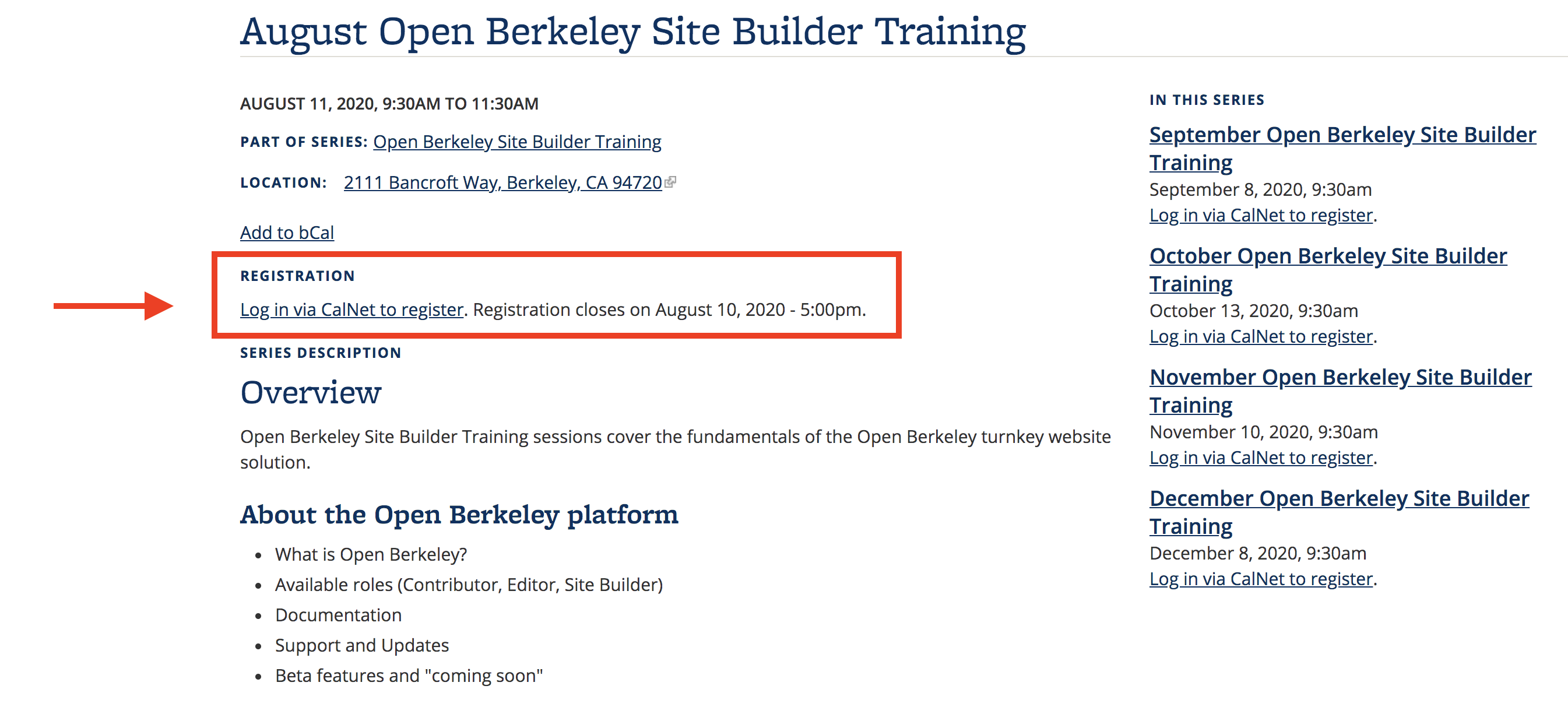 Screenshot of Site Builder training registration page