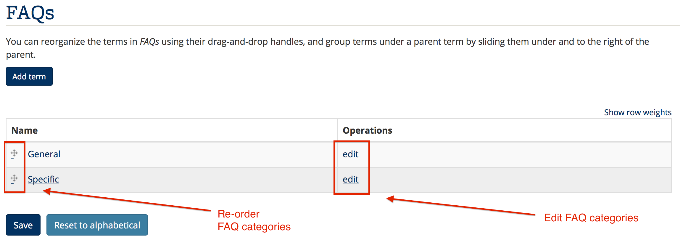 Screenshot of screen where you can reorder and edit FAQ categories