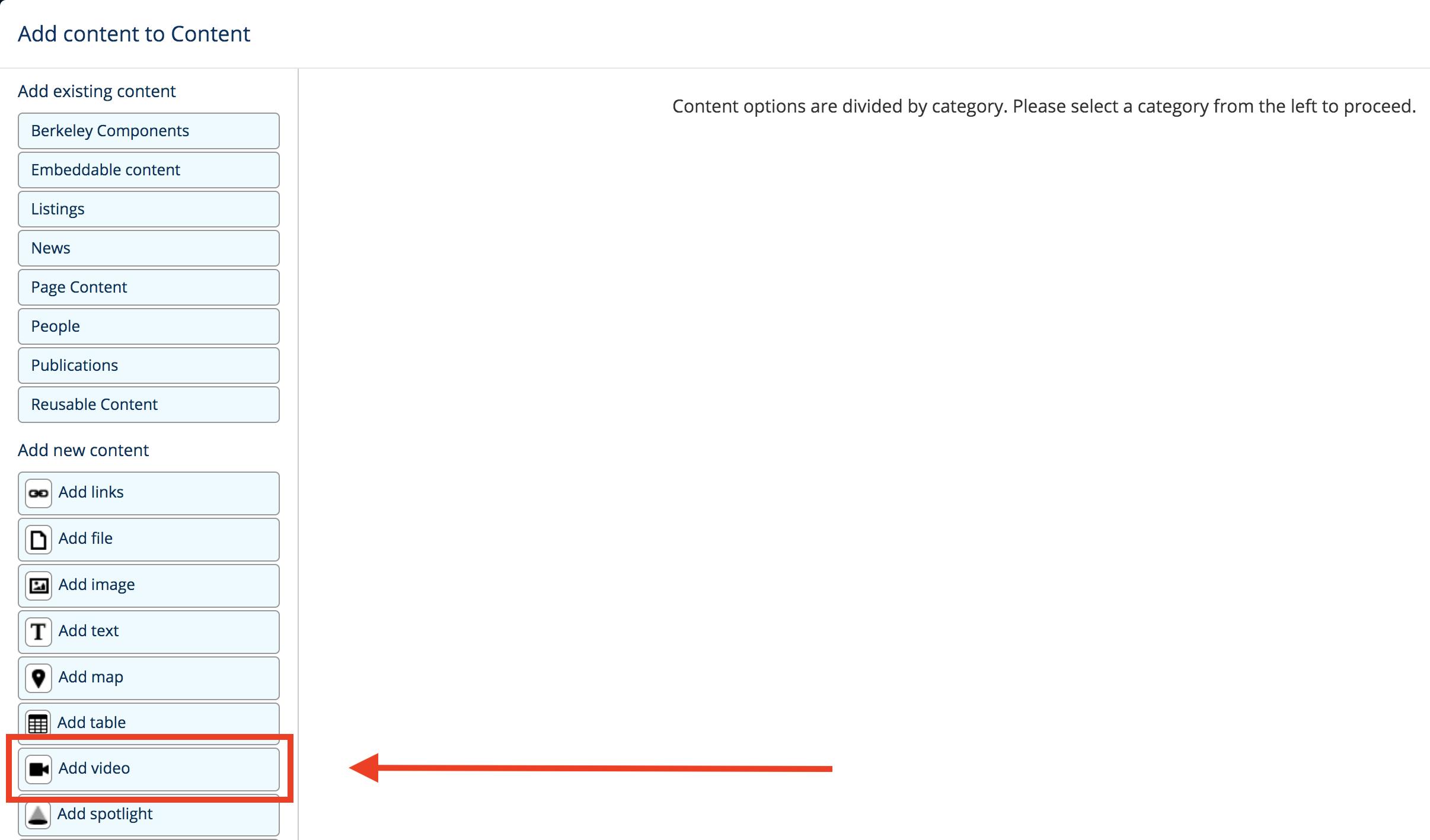 Screenshot of widget modal screen, where you can select the Add Video widget