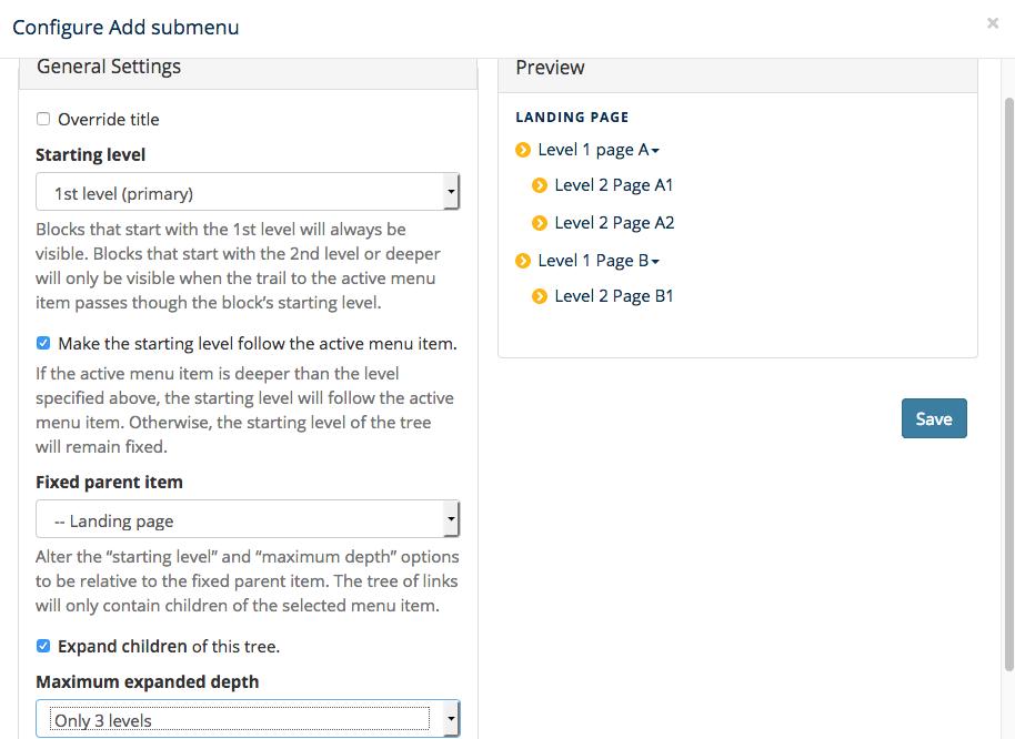 Screenshot showing configuration a submenu widget