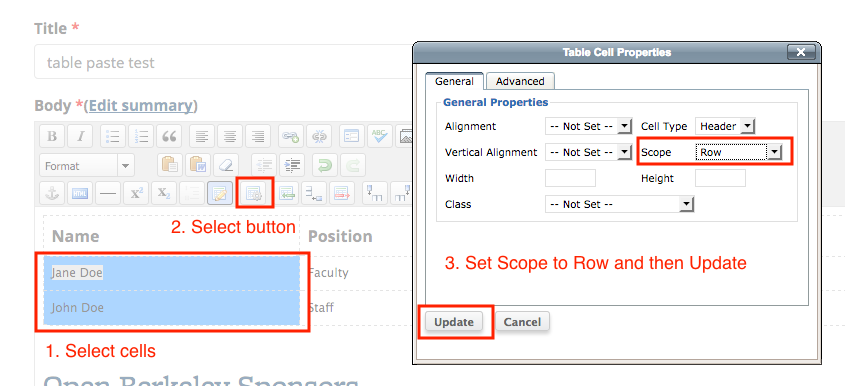 Table Row Headers and Scope Example