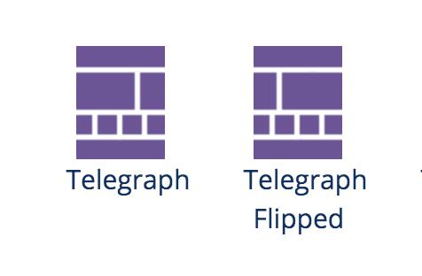 Screenshot of new Telegraph layout templates