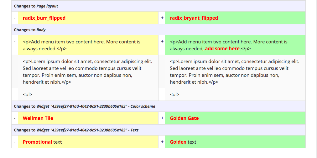 Screenshot showing differences in body content, page layout, and widget content between two revisions of a page.
